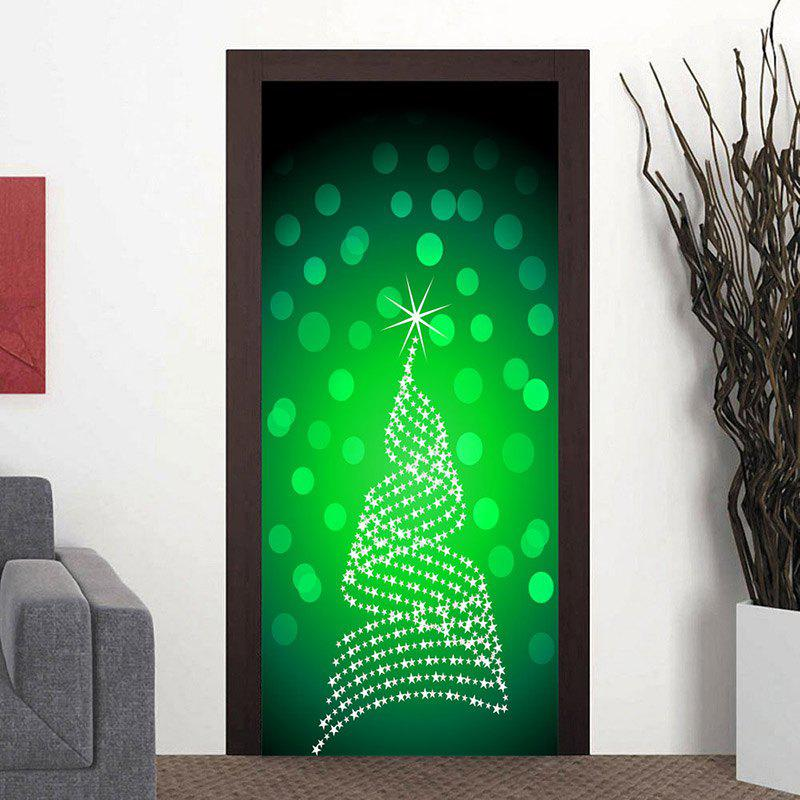 Shinning Christmas Tree Door Art Stickers - GREEN 38.5*200CM*2PCS