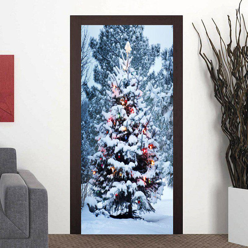 Full Snow Christmas Tree Door Art Stickers - WHITE 38.5*200CM*2PCS