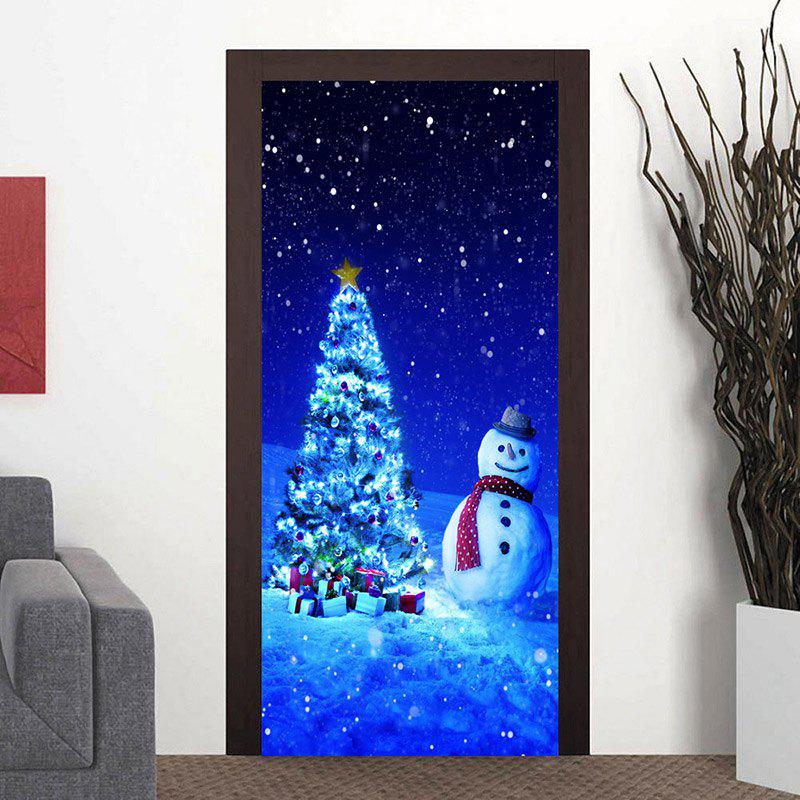 Snowman Christmas Tree Pattern Door Art Stickers shinning christmas tree door art stickers