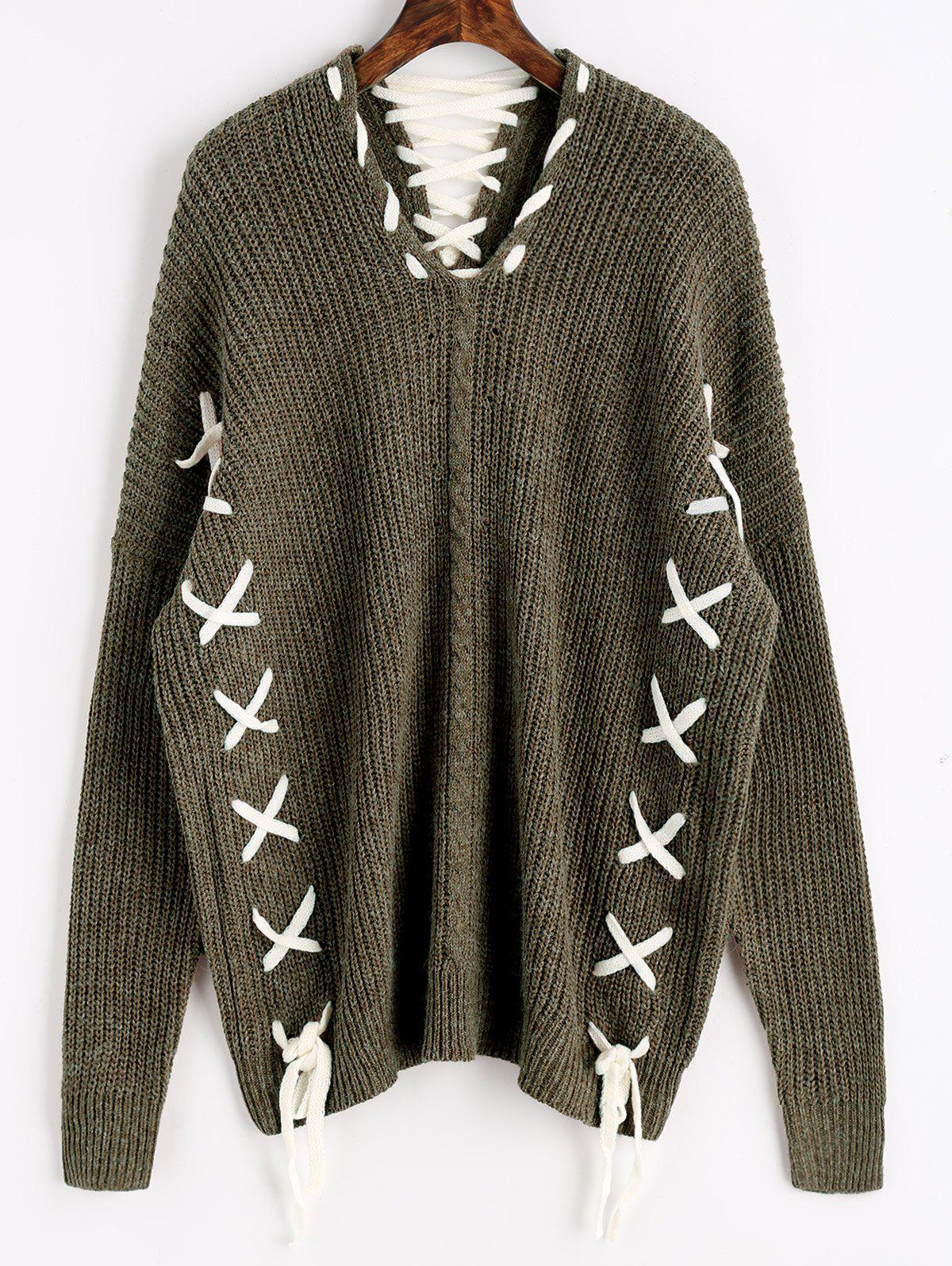 Contrasting Lace Up Oversized Sweater - ARMY GREEN ONE SIZE