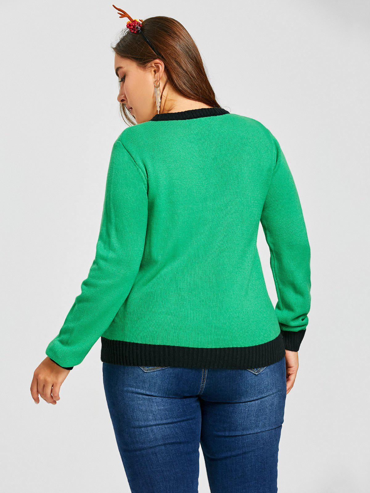 Plus Size Christmas Polka Dot Sticks Jacquard Sweater - GREEN 2XL