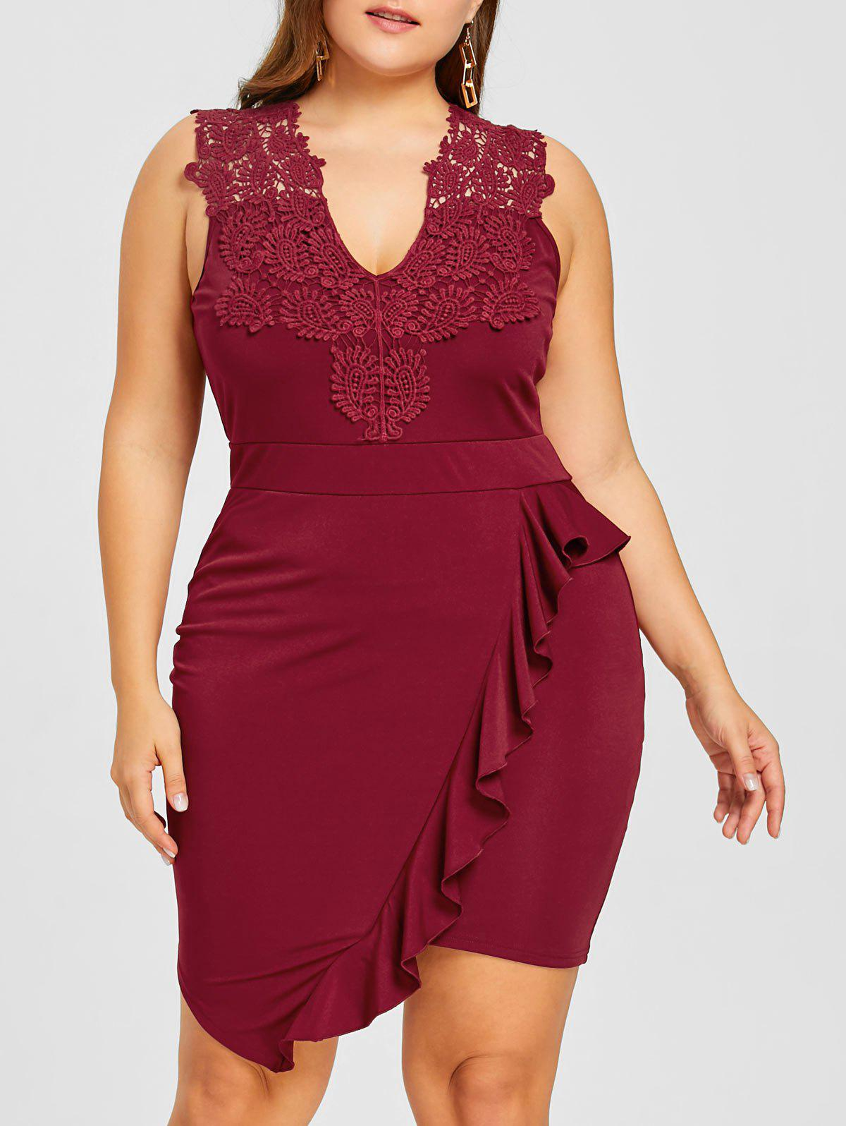 Plus Size Sleeveless Ruffle Bodycon Dress - WINE RED 5XL