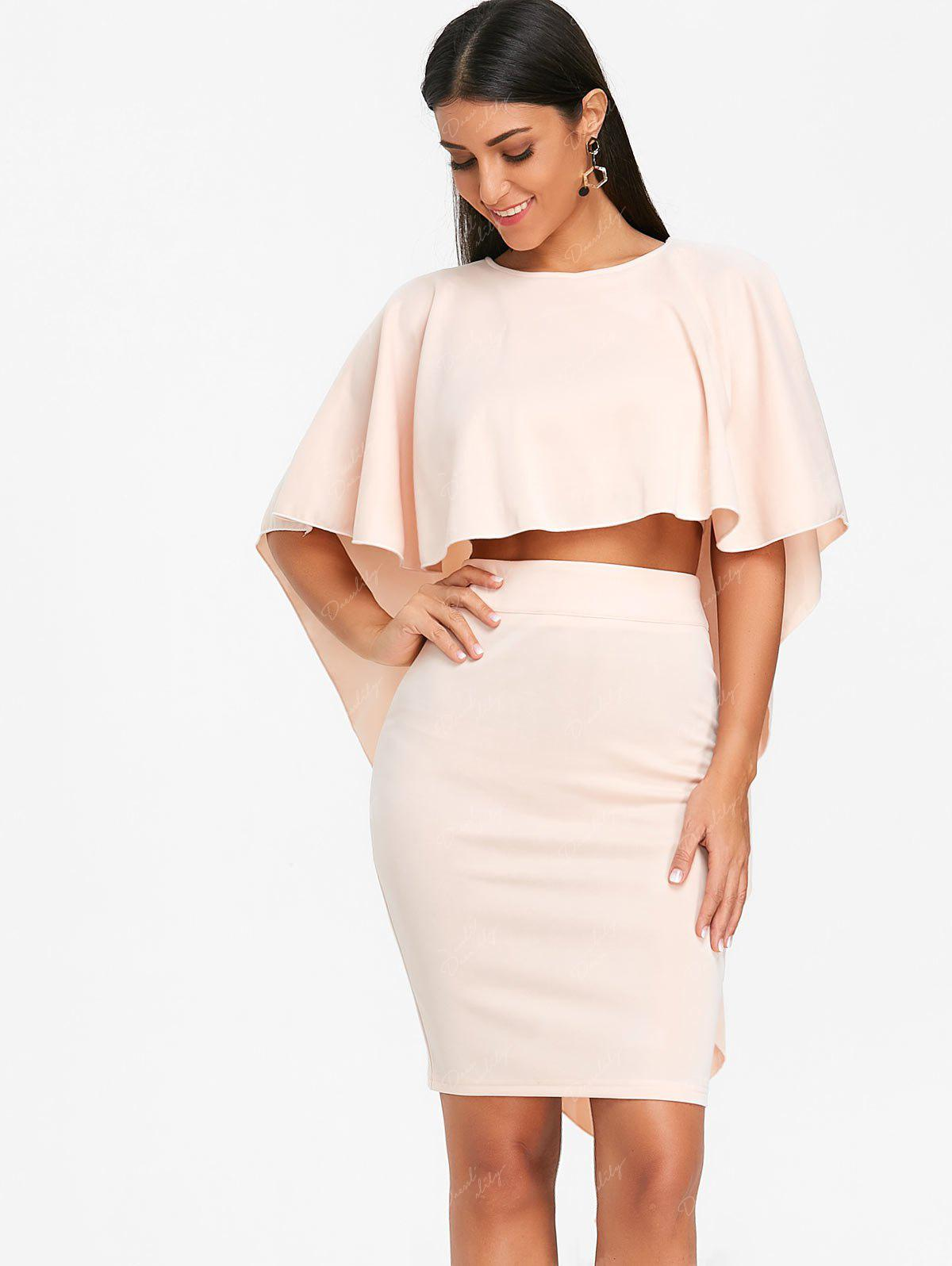 Bodycon Skirt and High Low Cape - PINKBEIGE 2XL