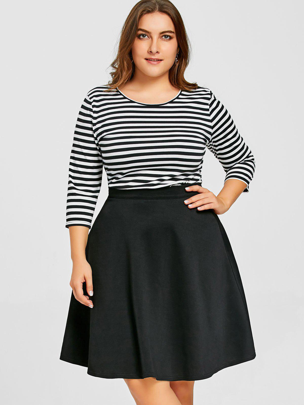 Striped Top with Plus Size Skirt - BLACK XL
