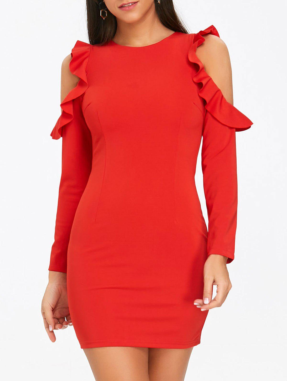 Ruffled Cold Shoulder Mini Bodycon Dress - RED S