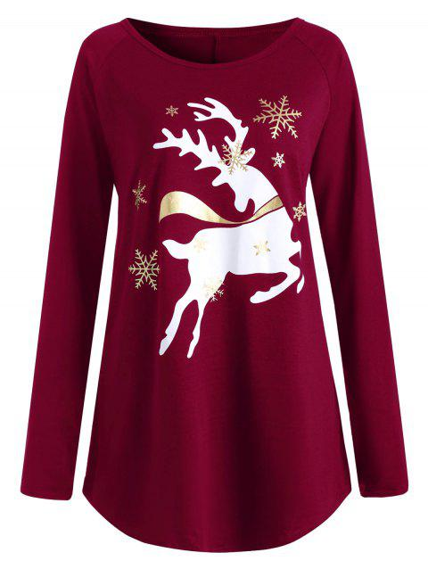 8e050890b85 41% OFF  2019 Plus Size Christmas Deer Printed T-shirt In WINE RED ...