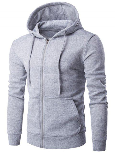 Full Zip Kangaroo Pocket Drawstring Flocking Hoodie - GRAY XL