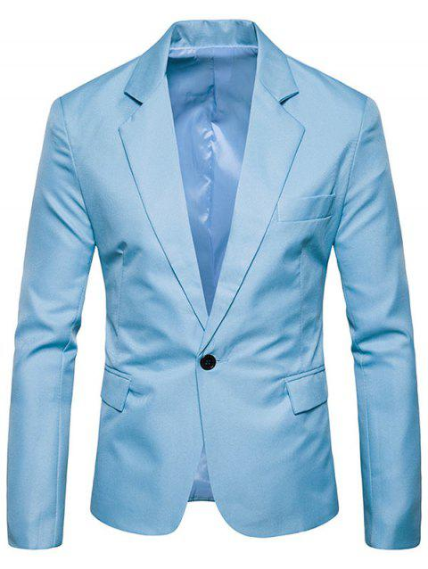Flap Pocket One Button Blazer - LIGHT BLUE L