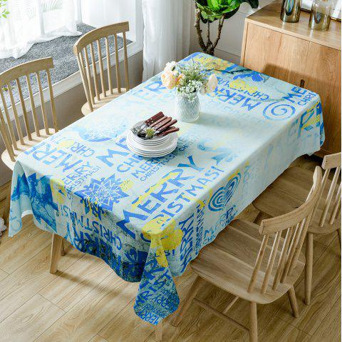 Merry Christmas Letters Print Waterproof Table Cloth - BLUE W54 INCH * L54 INCH
