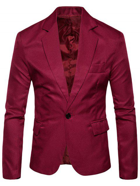 Flap Pocket One Button Blazer - WINE RED XL