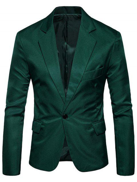 Flap Pocket One Button Blazer - BLACKISH GREEN 3XL