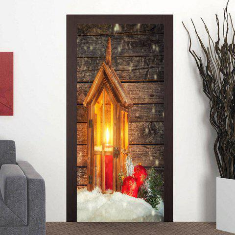 Christmas Candle Lamp Pattern Wood Grain Door Art Stickers - WOOD COLOR 38.5*200CM*2PCS