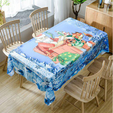 Santa Claus and Lovely Animals Print Waterproof Fabric Table Cloth - BLUE W54 INCH * L54 INCH