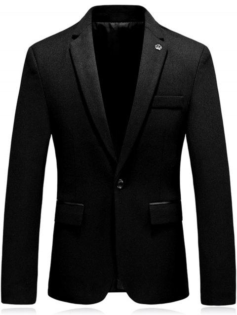Crown Embellished One Button Woolen Blazer - BLACK 3XL