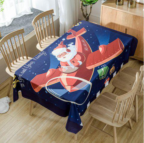 Santa Claus Drives a Plane Pattern Table Cloth - RED W54 INCH * L72 INCH