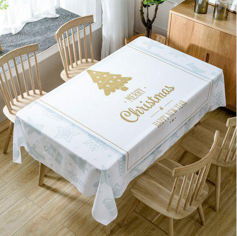 Christmas Theme Greetings Print Waterproof Tablecloth - WHITE W54 INCH * L54 INCH