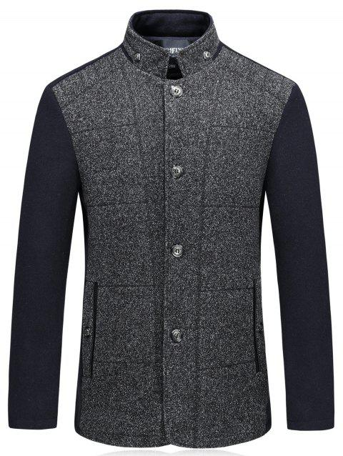 Single Breasted Color Block Padded Woolen Blazer - DEEP GRAY 3XL