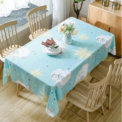 Christmas Sheep Star Print Waterproof Tablecloth - COLORMIX W54 INCH * L72 INCH