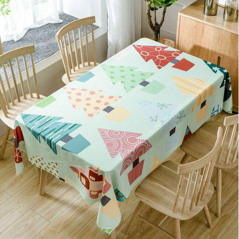 Christmas Cartoon Trees Print Waterproof Tablecloth - COLORMIX W54 INCH * L54 INCH