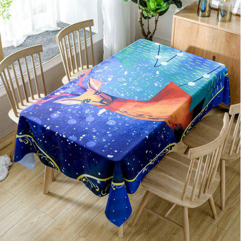 Christmas Graceful Elk Print Waterproof Fabric Table Cloth - DEEP BLUE W60 INCH * L84 INCH