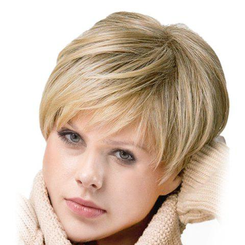 Inclined Bang Short Colormix Straight Synthetic Wig - COLORMIX