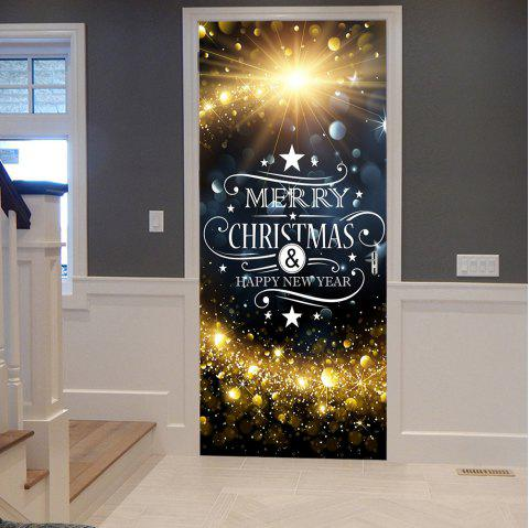 Christmas Starlight Greetings Pattern Door Stickers - COLORMIX 38.5*200CM*2PCS