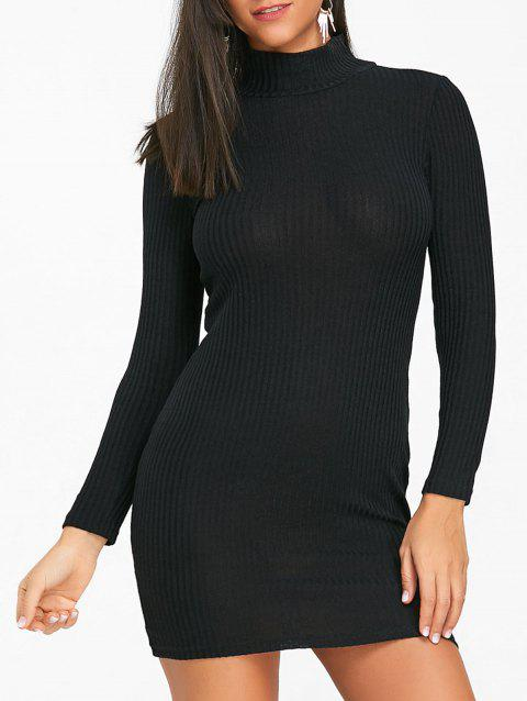High Neck Knit Bodycon Mini Dress - BLACK S