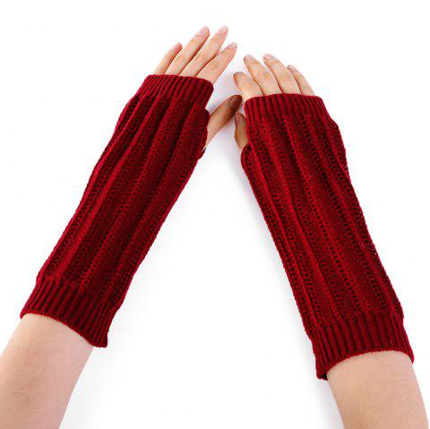 Stripe Pattern Hollow Out Decorated Crochet Knit Arm Warmers - DARK RED
