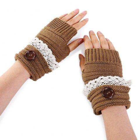 Button Decorated Lace Edge Knitted Exposed Finger Gloves - KHAKI