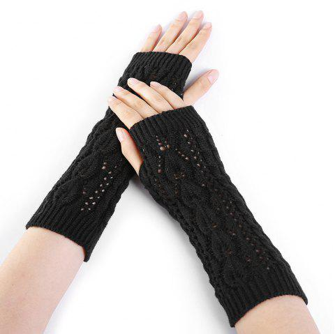 Tree Branch Pattern Hollow Out Fingerless Arm Warmers - BLACK