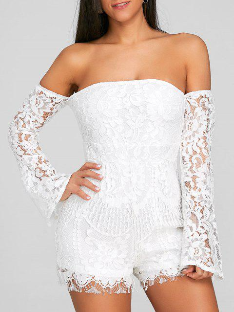 Flare Sleeve Off The Shoulder Lace Romper - WHITE M