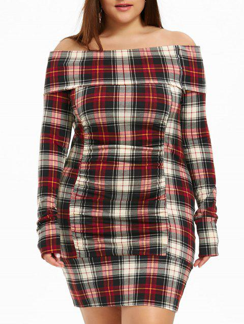 Plus Size Off The Shoulder Plaid Bodycon Dress - RED 5XL