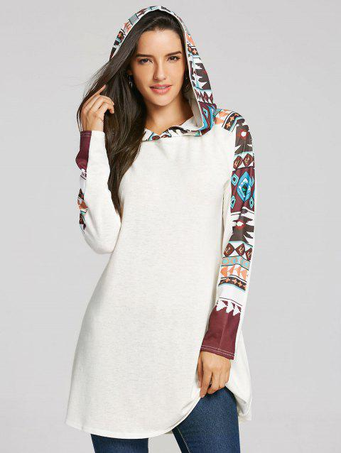 Tribal Totem Printed Panel Hooded Knit Top - WHITE S