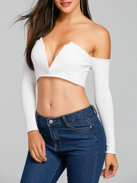 Long Sleeve V Cut Strapless Crop Top - WHITE L