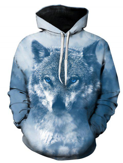 Sweat à Capuche Pull-over avec 3D Loup Imprimé - multicolore XL