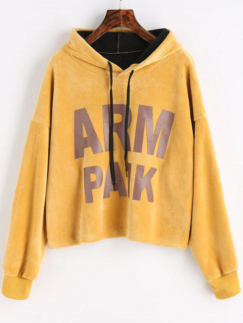 Letter Fleece Drawstring Hoodie - MUSTARD ONE SIZE