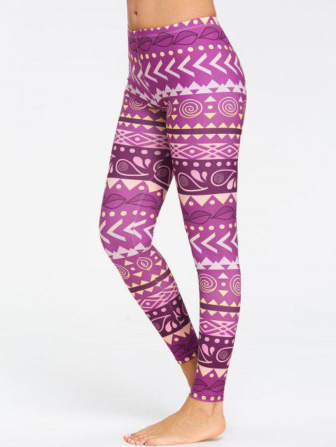 Leggings De Yoga Motif Chevron Respirant - Pourpre XL