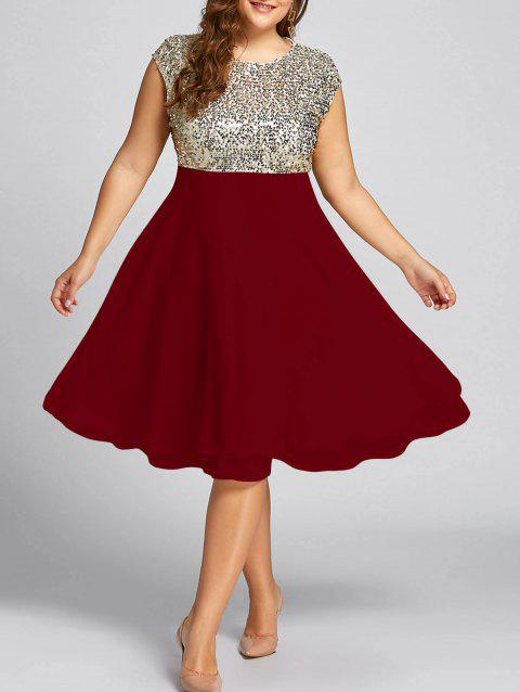 Plus Size Sequin Sparkly Cocktail Dress - WINE RED 5XL
