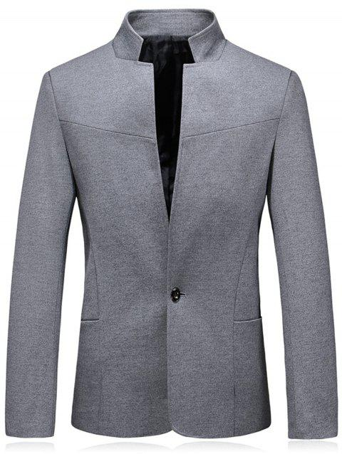 Slim Fit Stand Collar One Button Blazer - GRAY 5XL