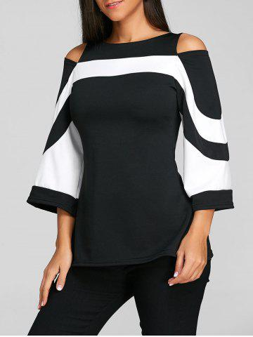 7a3bc8139fb Cold Shoulder Two Tone Blouse