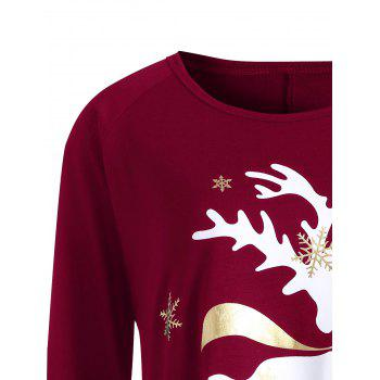 Plus Size Christmas Deer Printed T-shirt - WINE RED 5XL