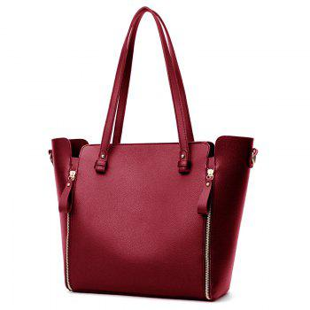 Faux Leather Shoulder Bag Set With Strap -  RED