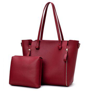 Faux Leather Shoulder Bag Set With Strap - RED RED