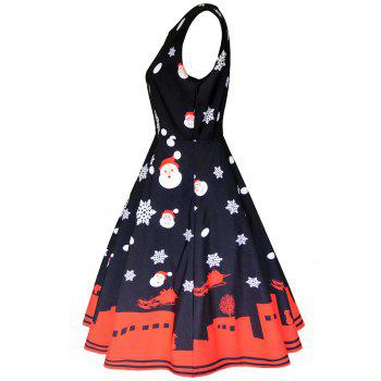 Christmas Vintage Sleeveless Party Dress - BLACK S