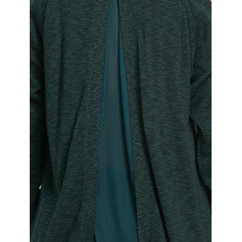 Chiffon Insert Cold Shoulder Tunic Knitwear - BLACKISH GREEN L