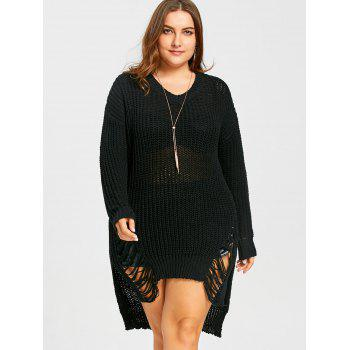 Plus Size High Low Ripped Chunky  Sweater - BLACK XL