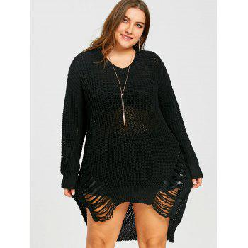 Plus Size High Low Ripped Chunky  Sweater - BLACK 3XL