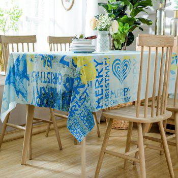 Merry Christmas Letters Print Waterproof Table Cloth - BLUE BLUE