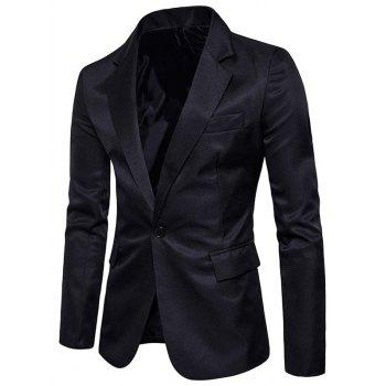 Flap Pocket One Button Blazer - BLACK BLACK