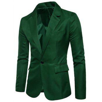 Flap Pocket One Button Blazer - GRASS GREEN 2XL